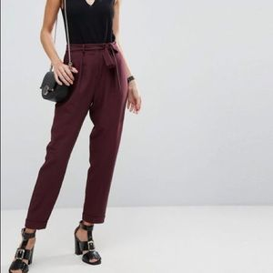 ASOS Tall Woven Peg Pants with Obi Tie in Wine